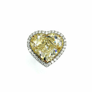 10.39Ct Center GIA Fancy Yellow Heart Shape & Diamond Halo Engagement Ring