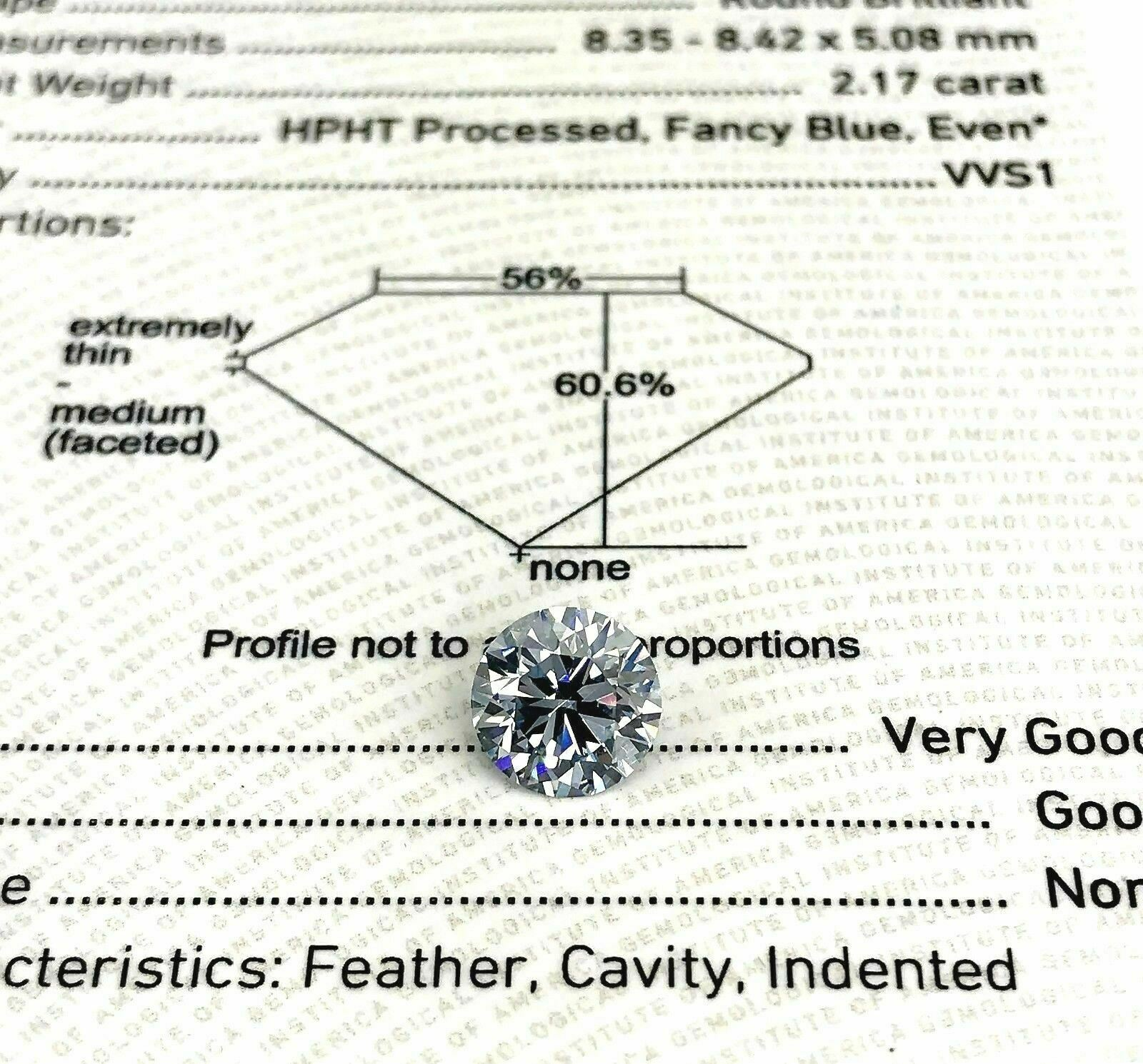Loose GIA Diamond - 2.17 Carats GIA Fancy Blue VVS1 Diamond GIA Certified HPHT