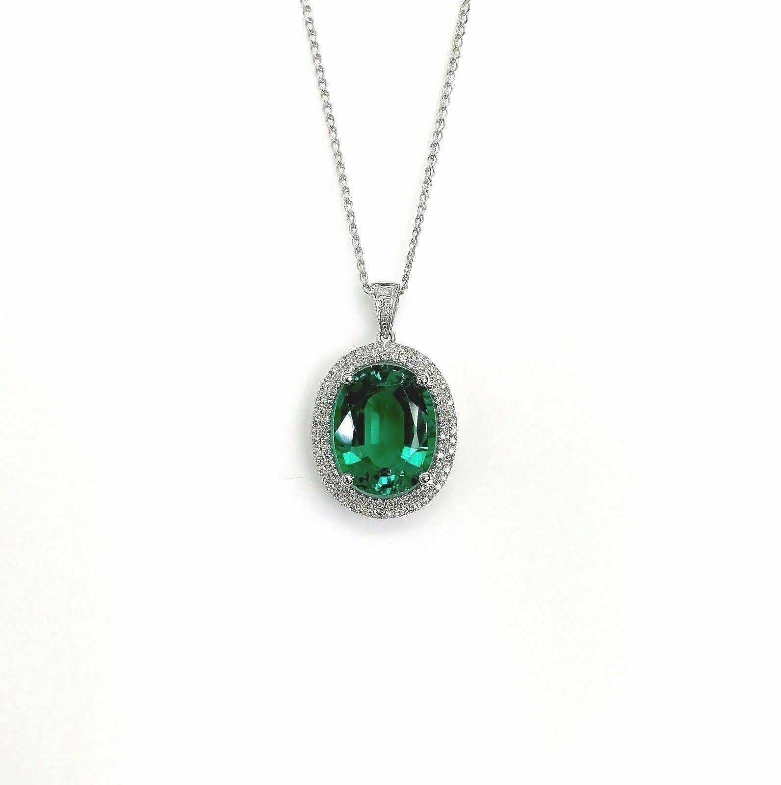 8.38 TCW Natural Oval Green Chatham & Diamond Accents Pendant 14k White Gold