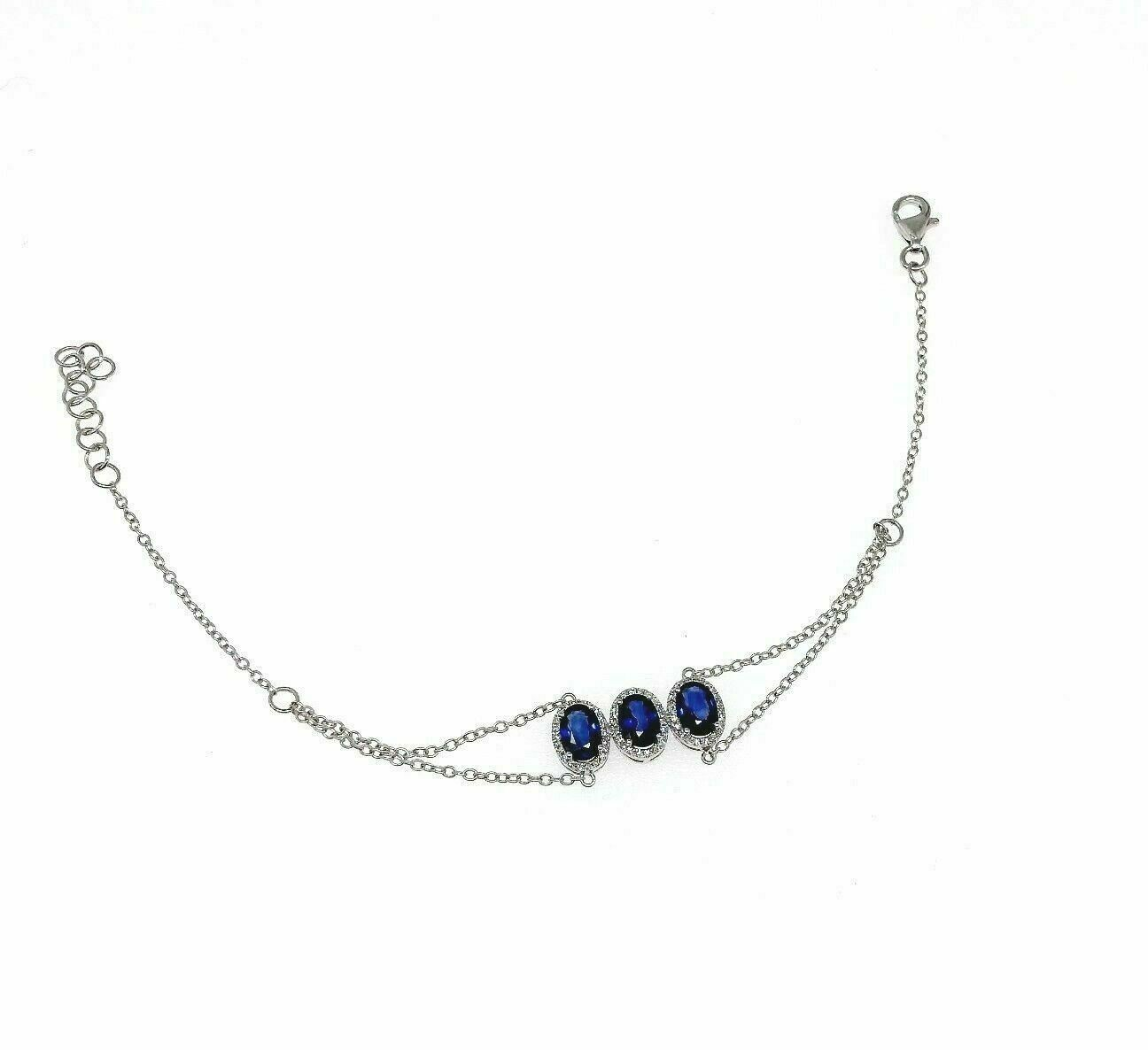 1.87 Carats Halo Blue Sapphire and Diamond Bracelet 14K White Gold