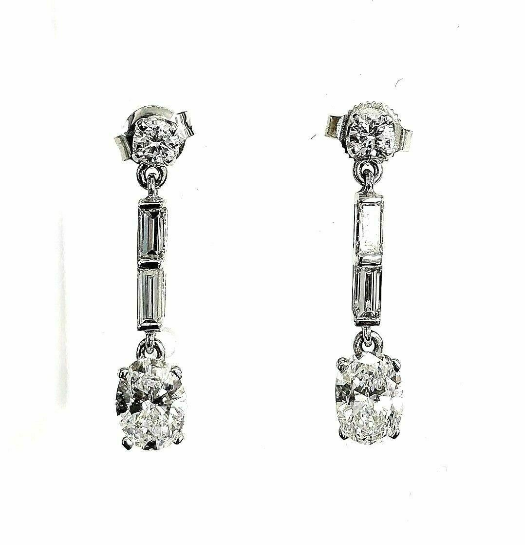 2.20 Carats t.w. Round Oval and Baguette Diamond Dangle Earrings 14K White Gold