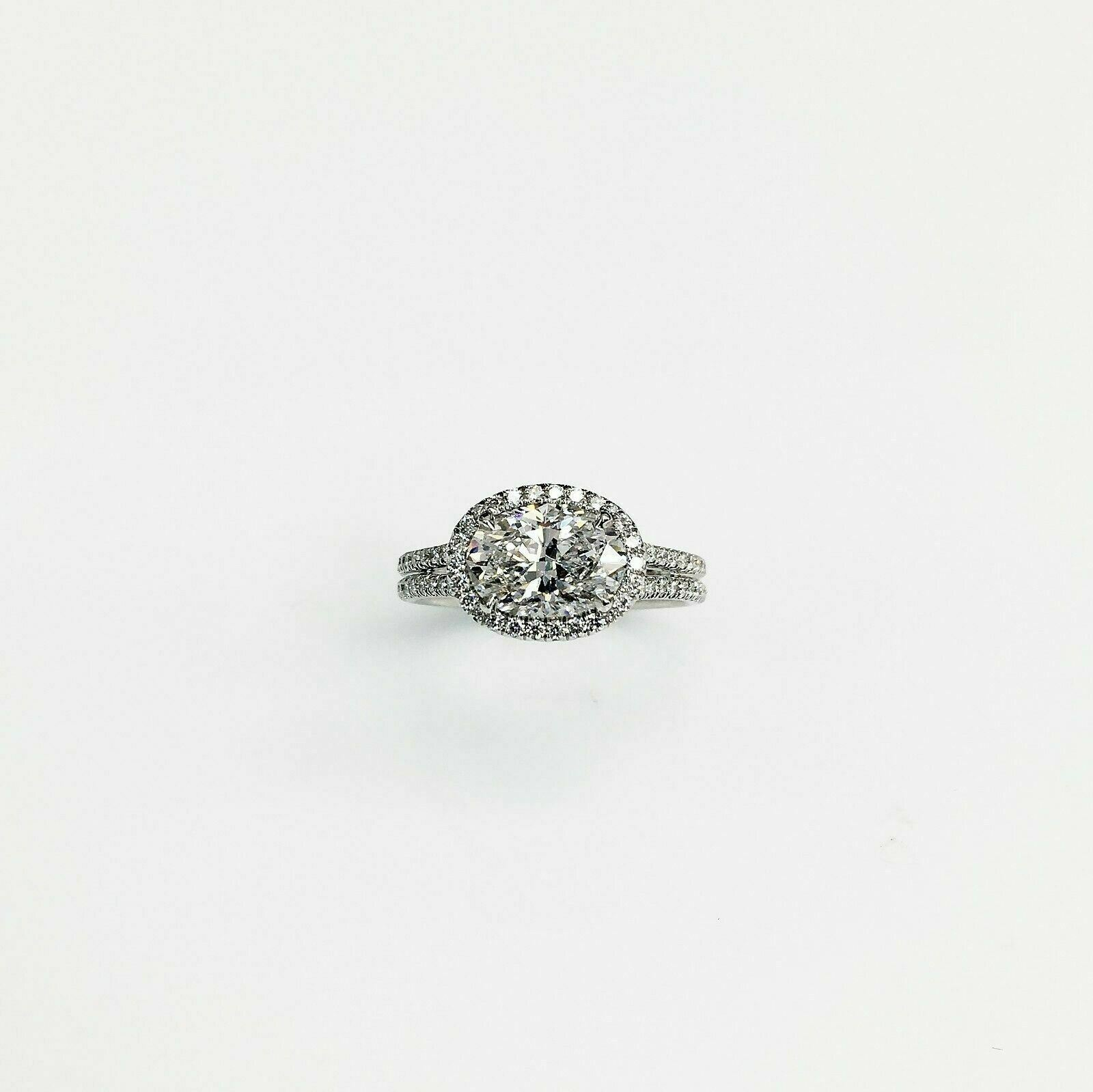 2.15 Ct tw Oval Platinum East West Halo Diamond Engagement Ring 1.53 GIA D IF