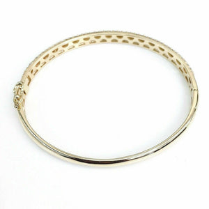 2.98 Carats t.w. Diamond Bangle 14 Karat YellowGold Brand New Custom Made in USA