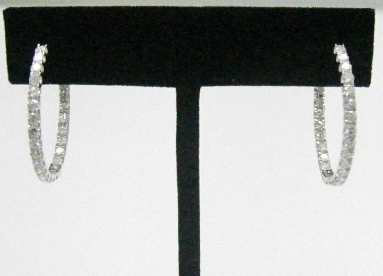 26mm 2.50 TCW Round Hoops In & Out Diamond Earrings F-G VS-2 18kt White Gold
