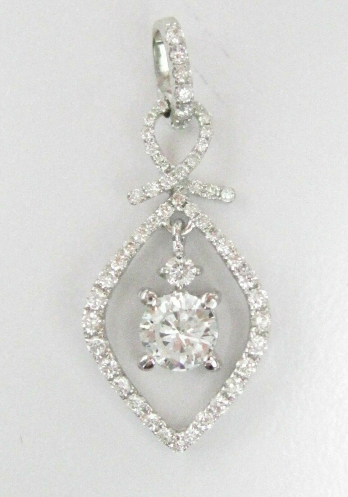 .93 TCW Single Round Brilliant Diamond Pendant G SI-1-1 18k White Gold