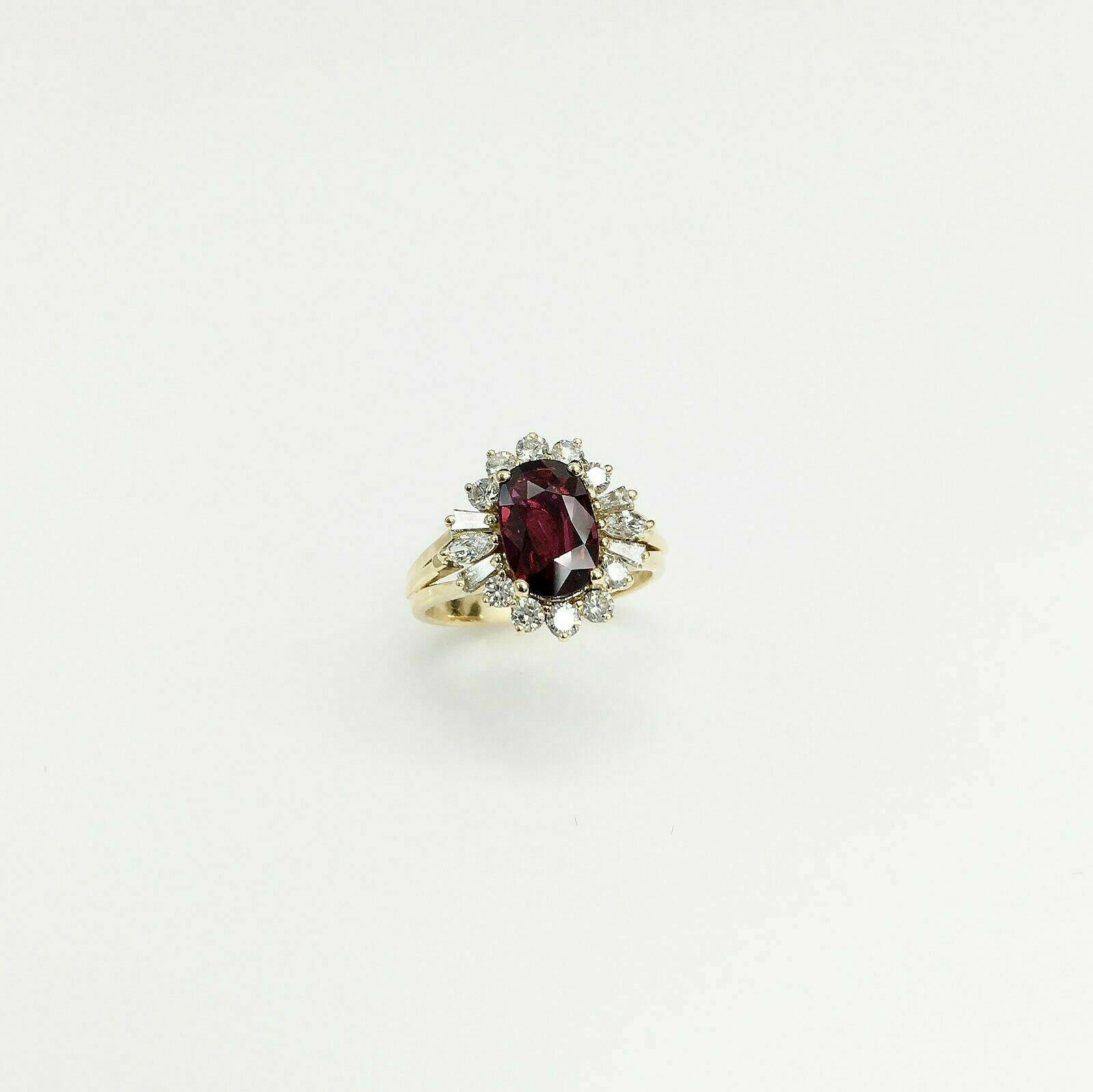 2.09 Carats t.w. Diamond and Ruby Ring Ruby is 1.59 Carats AGL Lab Report