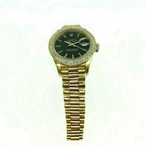 Rolex Lady President Watch 18 Karat Yellow Gold 26MM Ref # 69178 Diamond Bezel