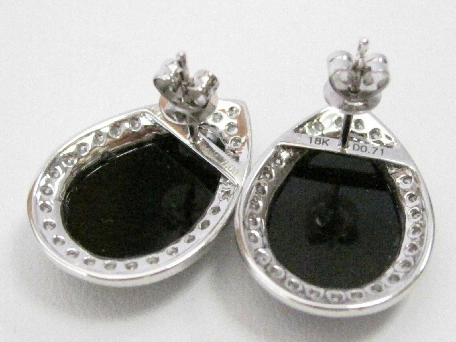 8.70 TCW Natural Pear Shape Black Onyx & White Diamonds Earrings 18k White Gold