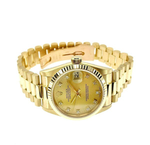 Rolex Lady President 31mm Watch 18 Karat Yellow Gold Ref 68278 Factory Diamonds