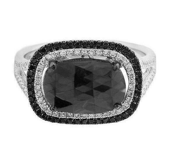 3.10ct Rose Cut Rectangular Radiant Black Diamond Center 2Row Halo Cocktail Ring