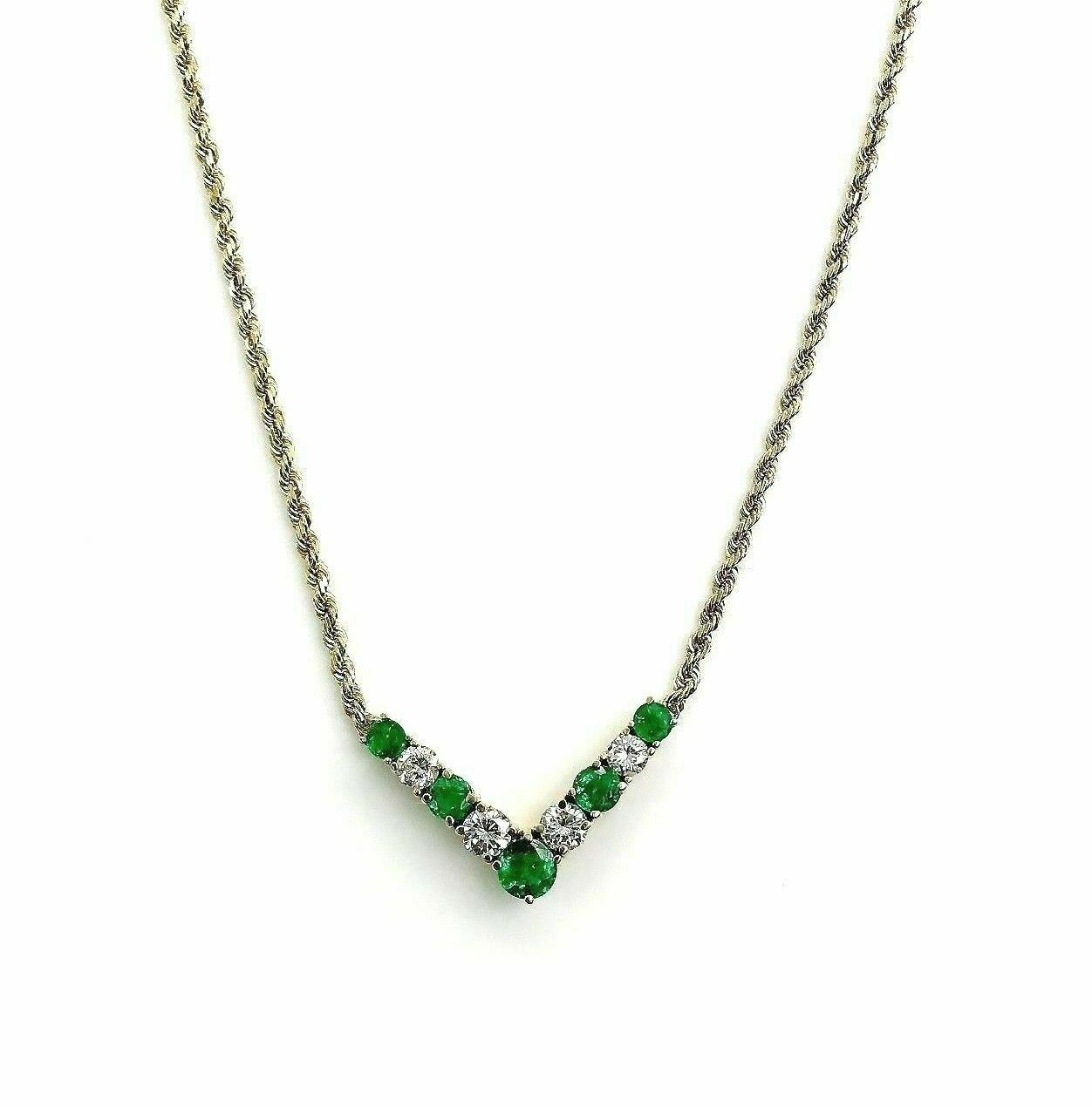 2.48 Carats t.w. Emerald & Diamond Necklace with Attached 14K Yellow Gold Chain