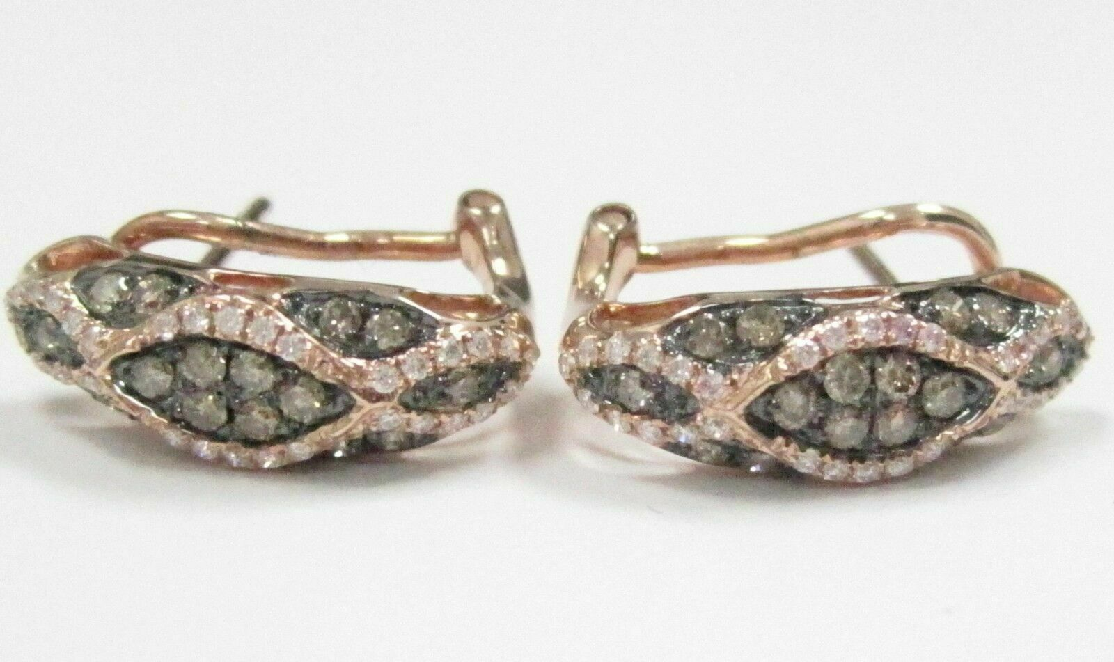 .82 TCW Natural ROund Brilliants Champagne Diamond Huggie Earrings 14k Rose Gold