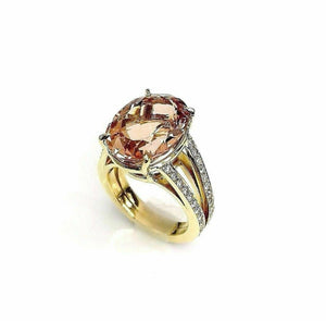 10.46 Carats Diamond and Oval Morganite Split Eternity Ring 18K Yellow Gold New
