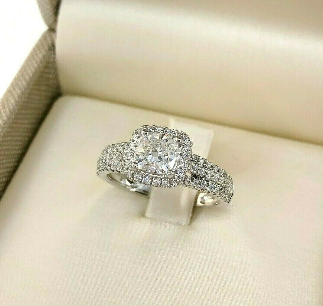 1.44 Carats Cushion Cut Center Diamond Halo & 3 Row Engagement Ring 1.04 Center