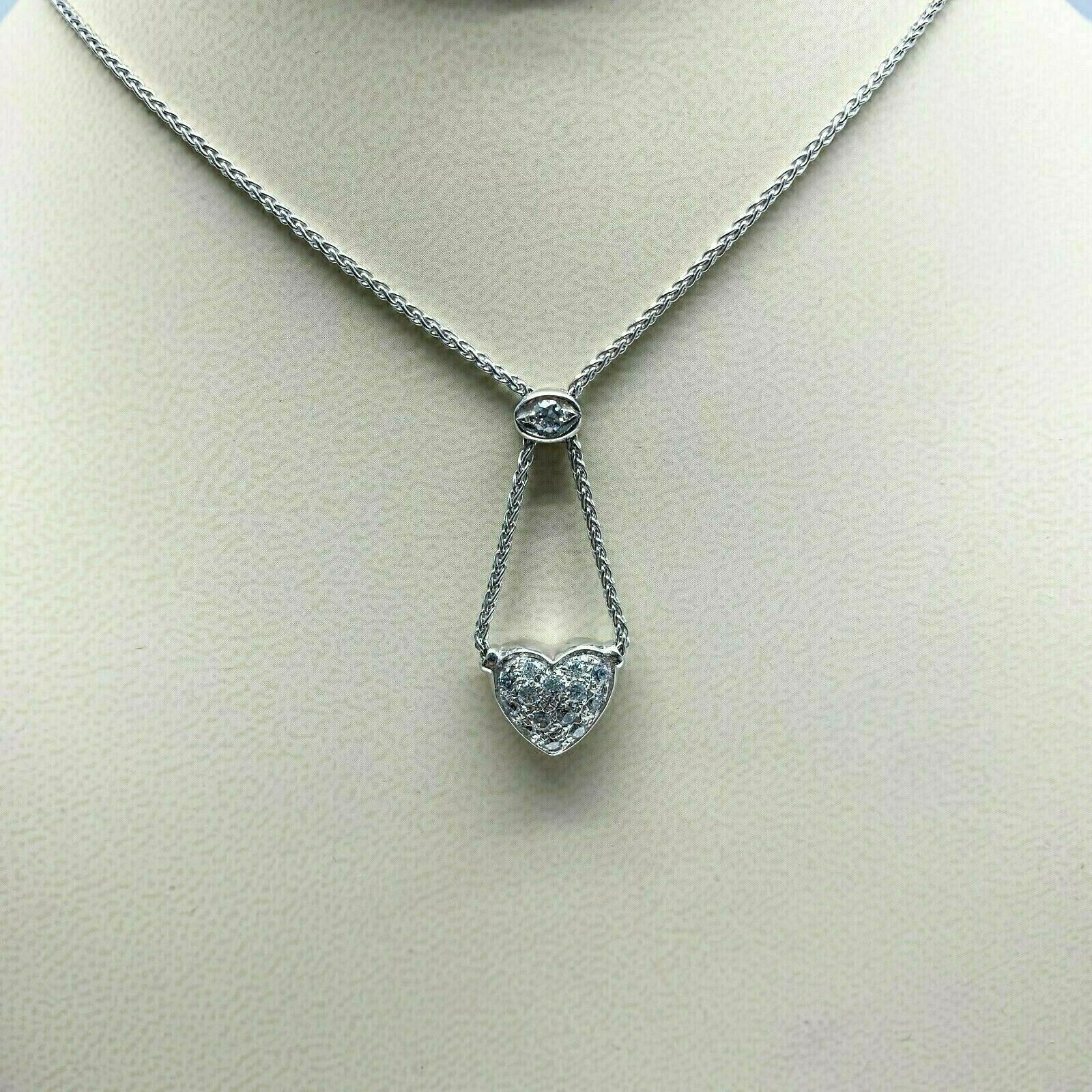 0.60 Carats Micro Pave Diamond Heart Necklace 14K Gold w 14K Chain Italian Made