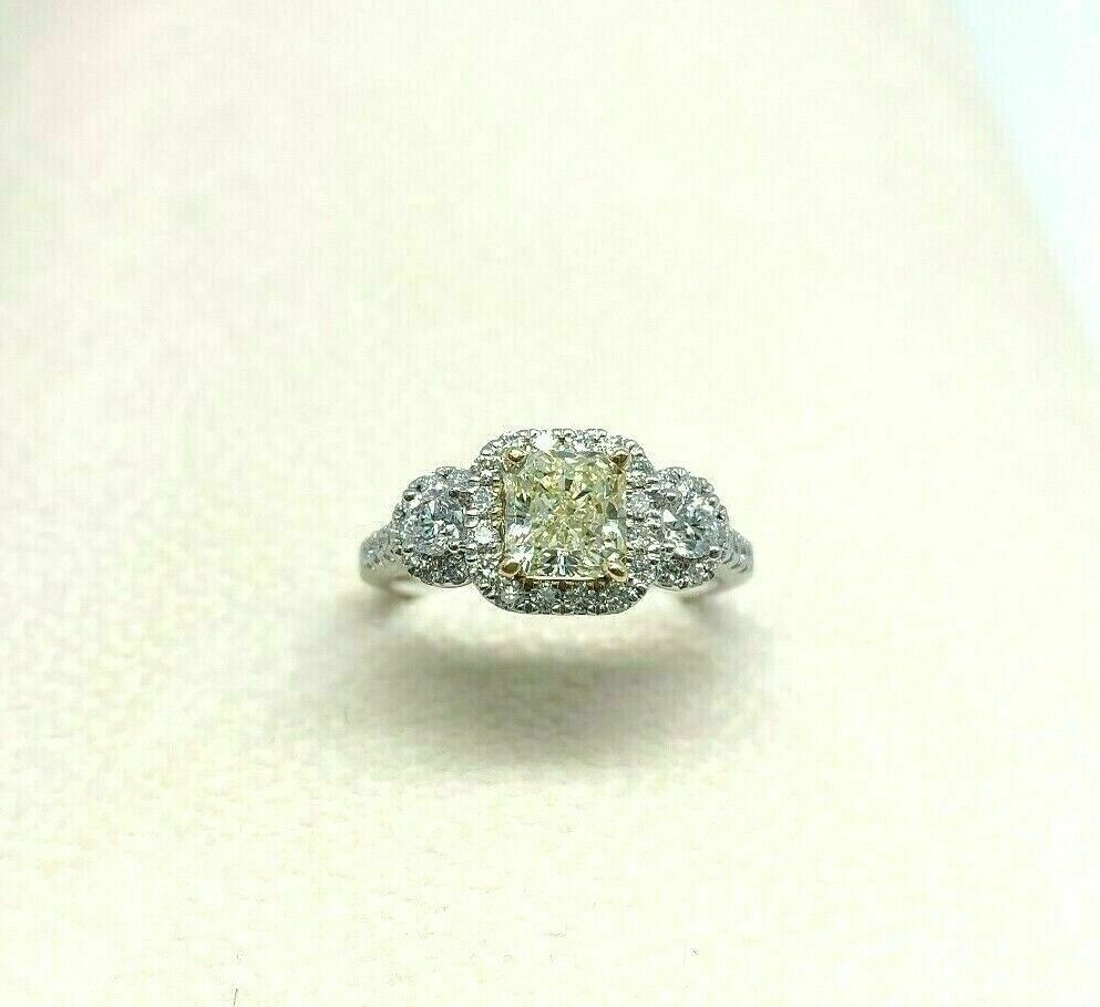 1.65 Carats t.w. Fancy Yellow VS1 Radiant Diamond Halo Engagement Ring 14k