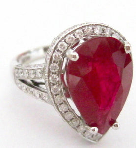 10.51 TCW Pear Cut Ruby w/ Diamond Accents Cocktail Ring Size 6 18k White Gold