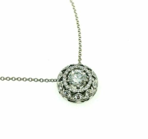 1.03 Carats tw Tacori Diamond Halo Pendant 0.73 Carat Center w Tacori Chain 18k
