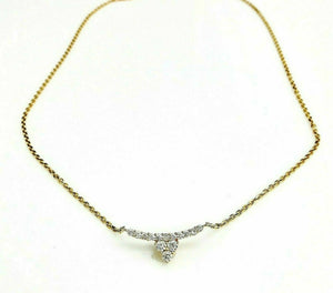 0.68 Carat Custom Made 18K Gold Diamond Pendant w 18K Gold Adjustable Chain