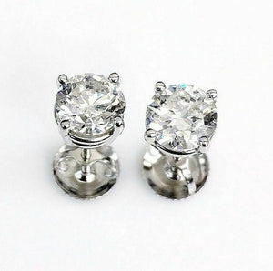 100% Natural Colorless & Shiny 1.42 Carats t.w. Diamond Stud Earrings 14KWG New