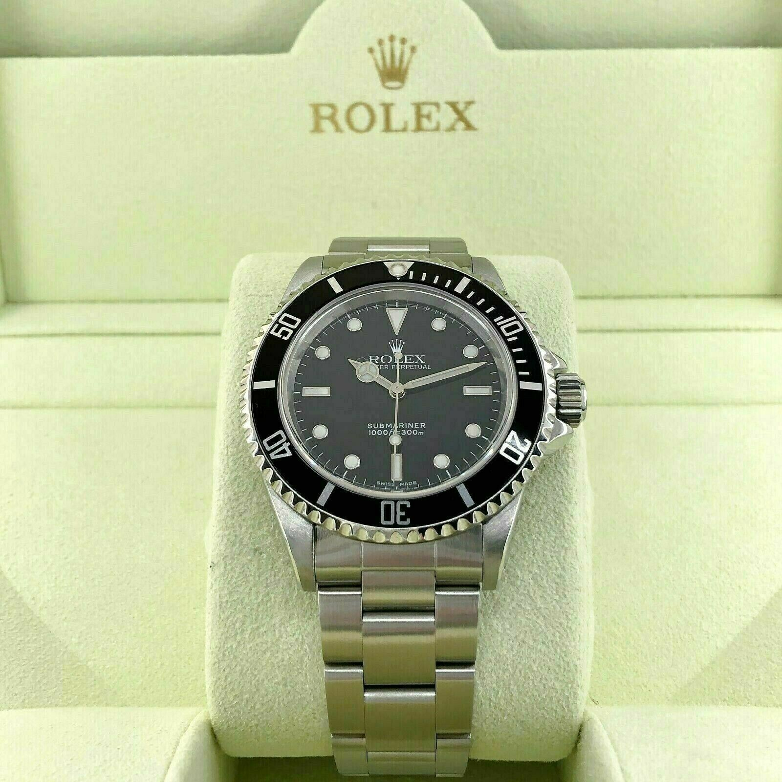 Rolex Black 4 Line No Date Submariner Stainless Steel Watch Ref 14060M K Serial