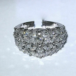 3.65Ct Marquise Cut Cluster Diamond Cocktail Ring Band Size 7.5 18k White Gold