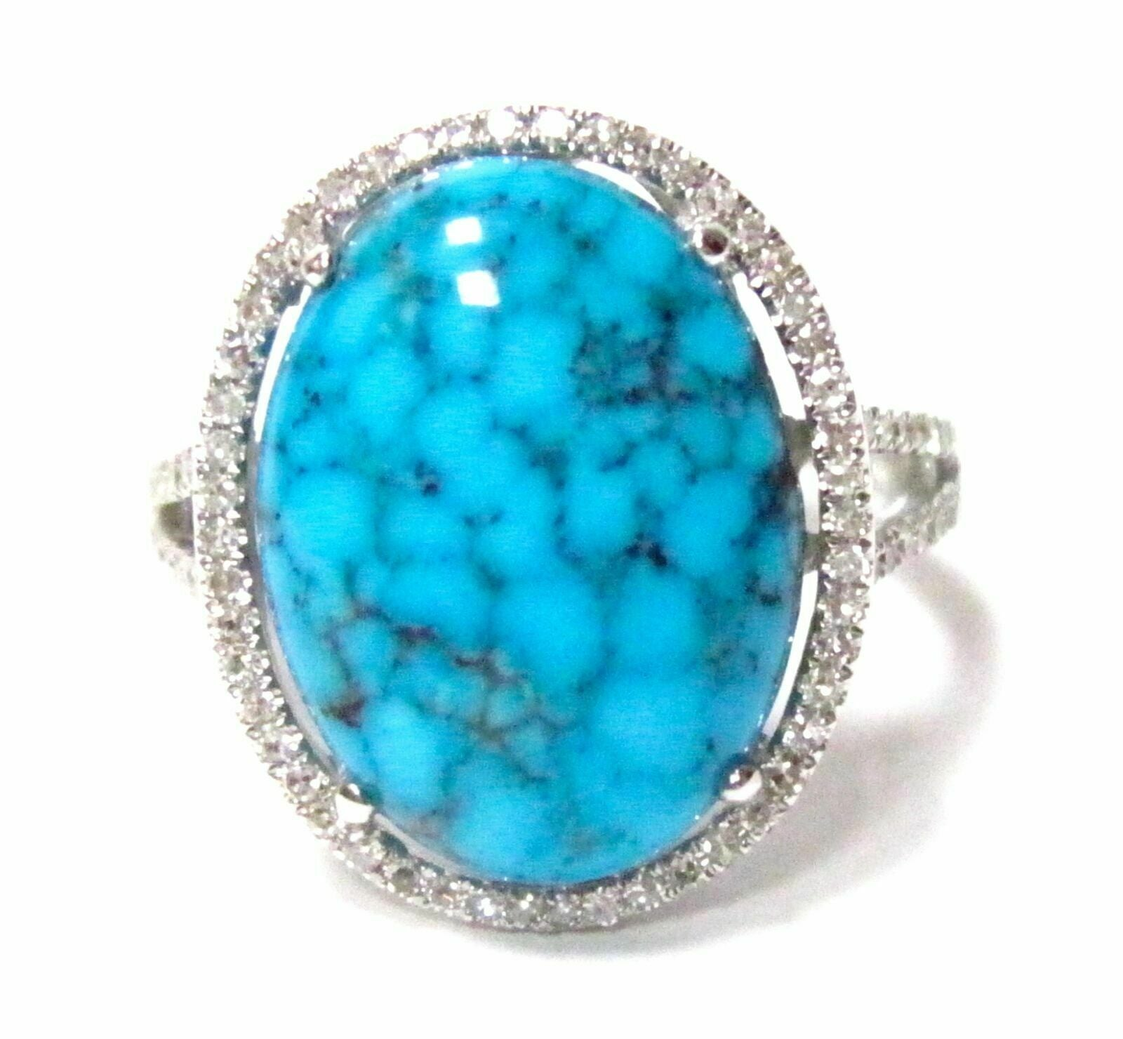 5.61 TCW Natural Oval Blue Turquoise w/ Diamond Accents Solitaire Ring Size 6.5