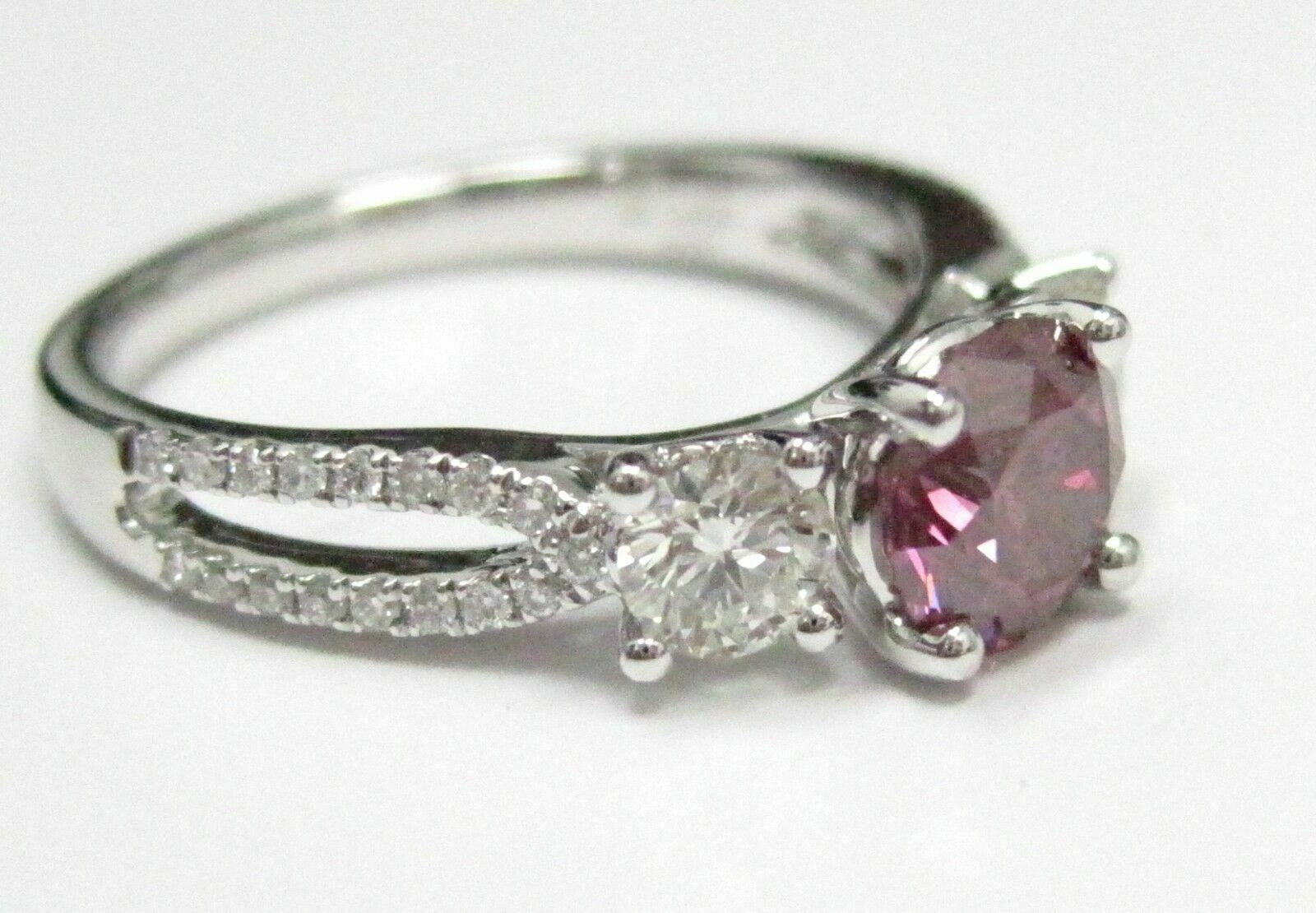 1.54 TCW GIA Round Fancy Color Purple Pink Diamond Solitaire Engagement Ring 18k