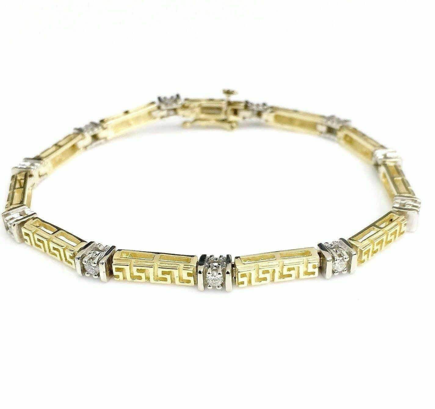 0.60Carat t.w. Diamond Tennis Bracelet 14 Karat 2Tone Gold Brand New Made in USA