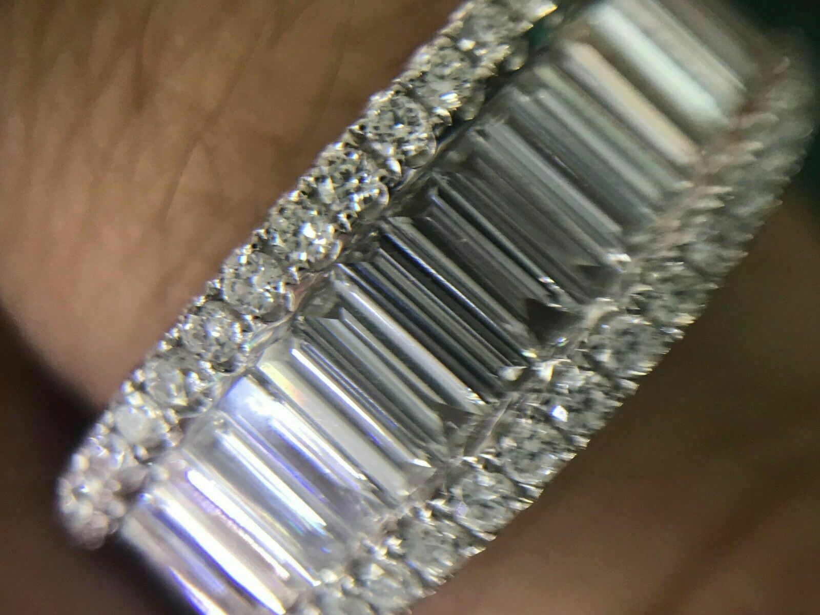 1.35 TCW Diamond Baguette Channel Set Center Round Sides 18K White Gold Band