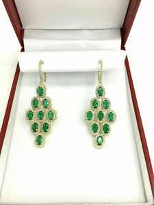5.51 Carats t.w. Emerald and Diamond Chandelier Earrings Emeralds 4.20 Carats