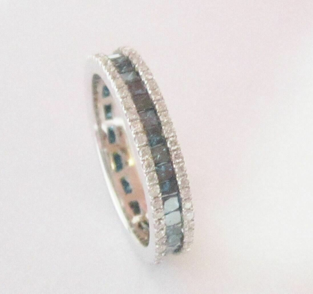 1.75 TCW Natural Round Cut Blue Diamond Eternity Ring/Band Size 6 14k White Gold