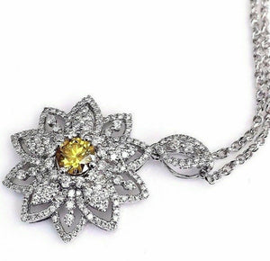 1.48 Carats t.w. Yellow and White Diamond Pendant w Chain 18K Gold Pendant