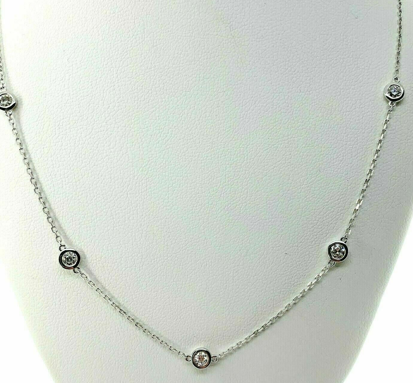 1.68 Carats t.w. Hand Assembled Diamond by The Yard Necklace Chain 14K Gold