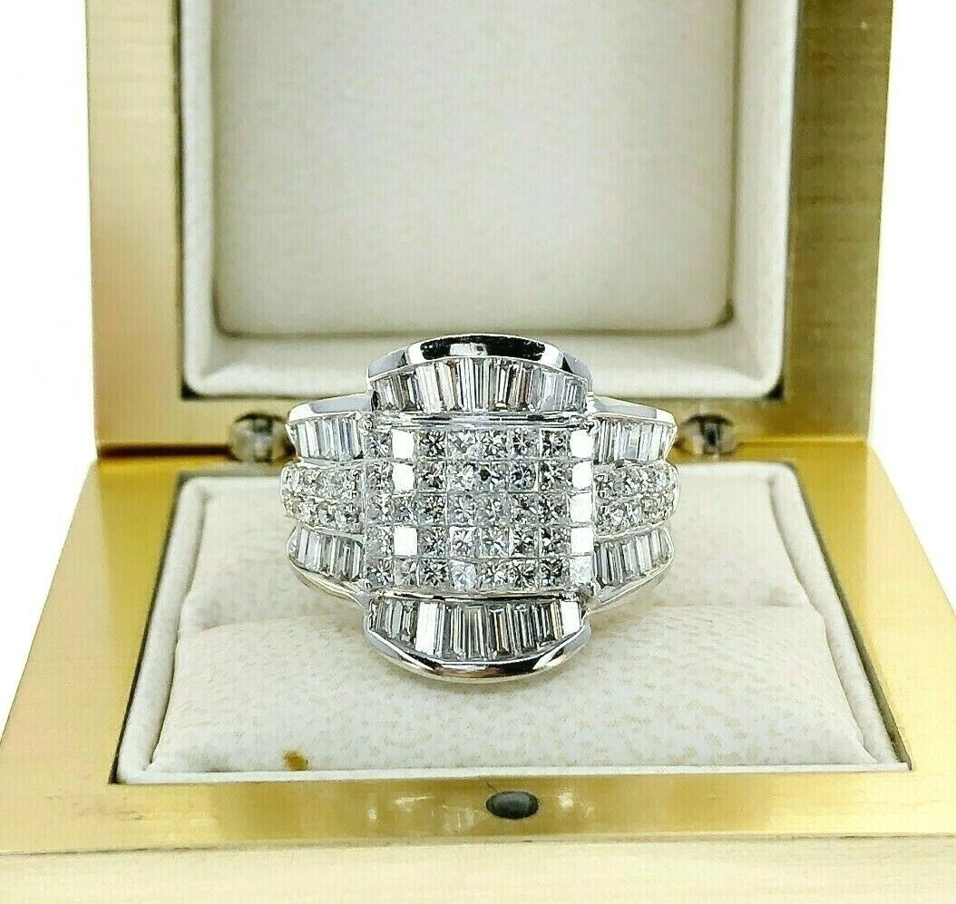 2.44 Carats t.w. Invisible Set Diamond Anniversary/Wedding Ring 18K White Gold