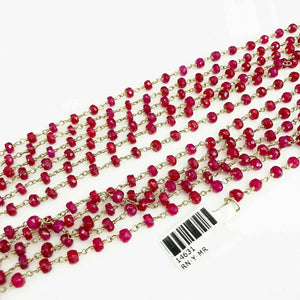 205 Carats Natural ruby Layering Necklace Strand Necklace 14K Yellow GF 112 Inch