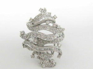 1.27Ct Round & Baguette Cut Diamond Floral Design Cocktail Ring Size 7 18k WGold