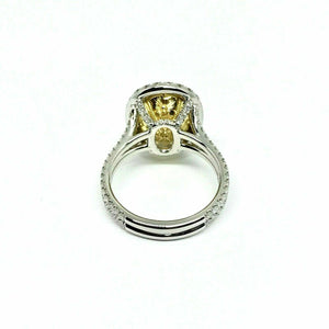 Platinum Ring GIA Certified 4.02Ct. Natural Fancy Light Yellow Oval Diamond