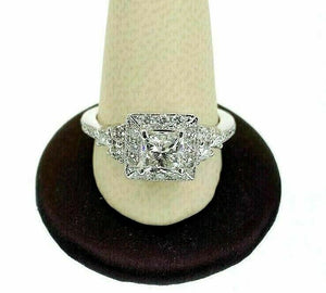 1.70 Carats tw Princess Cut Diamond Halo Engagement Ring H VS1 1.00 Carat Center