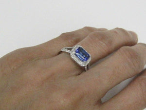 1.37 TCW Emerald Cut Tanzanite & Diamond Accents Ring Size 7 14k White Gold