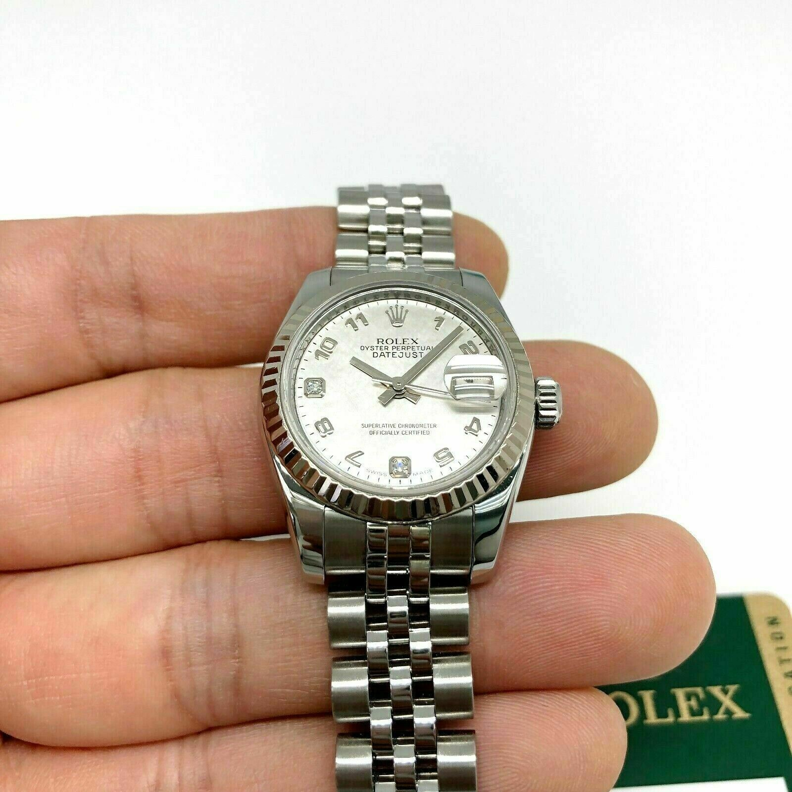 Rolex 26MM Lady Datejust 18 Karat White Gold Steel Watch Ref # 179174 w Card
