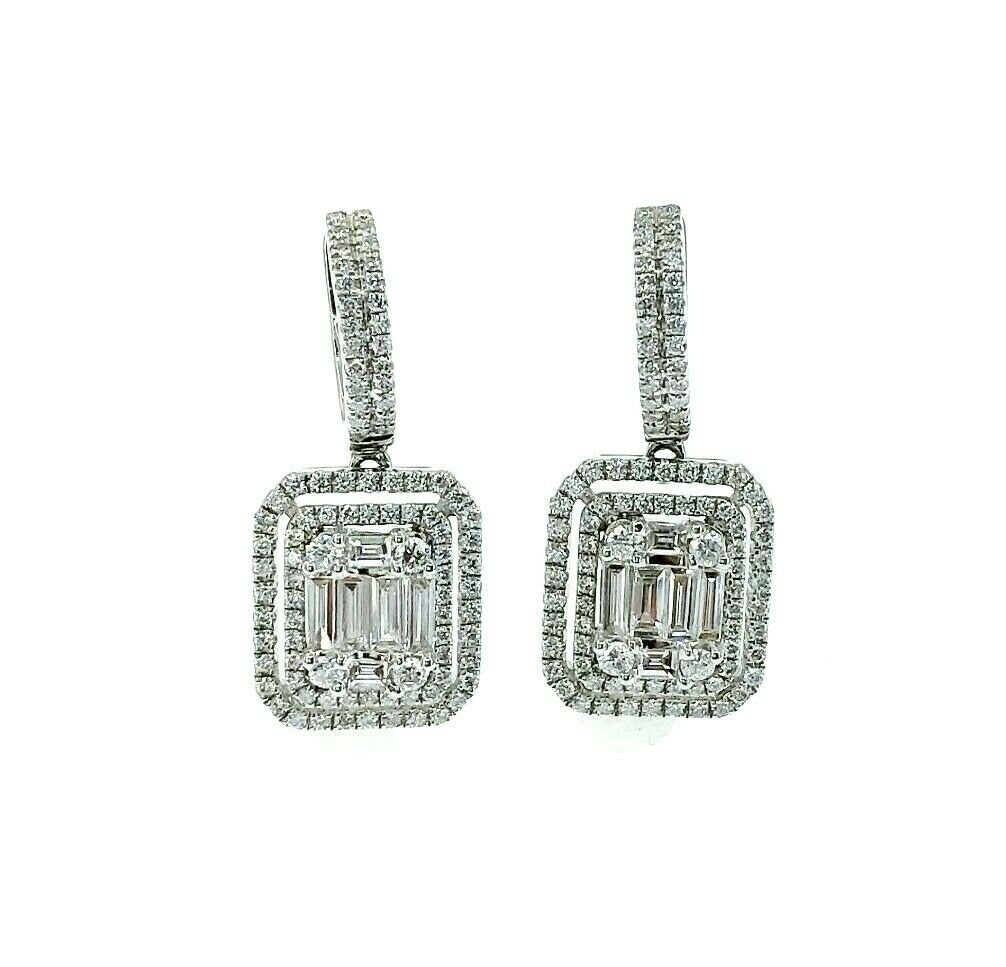 1.45 Carats Invisible Baguette and Round Diamond Halo Earrings 18K White Gold
