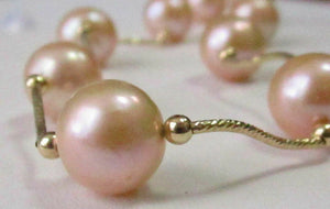 Light Gold/Peach Pearl String Necklace 11mm 18k Yellow Gold 17 Inches Long