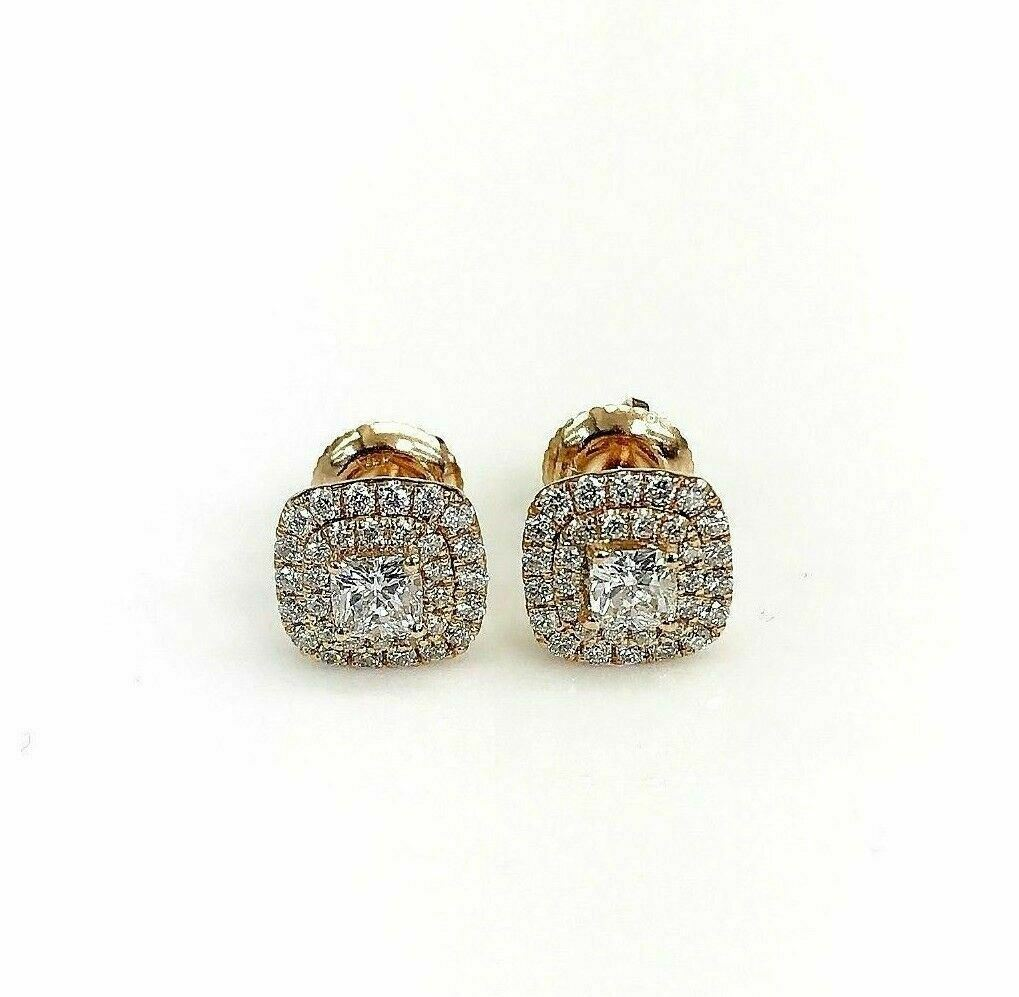0.87 Carats t.w. Cushion and Round Diamond Halo Earrings 14K Pink Rose Gold New