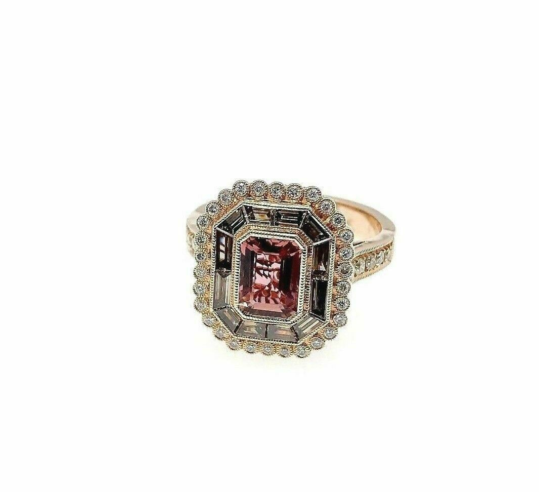 2.11 Carats t.w. Pink Tourmaline and Diamond Halo Ring 14K Rose Gold