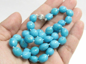 172.53 TCW Oblong Shape Persian Turquoise Bead String Necklace 14k 21 Inches