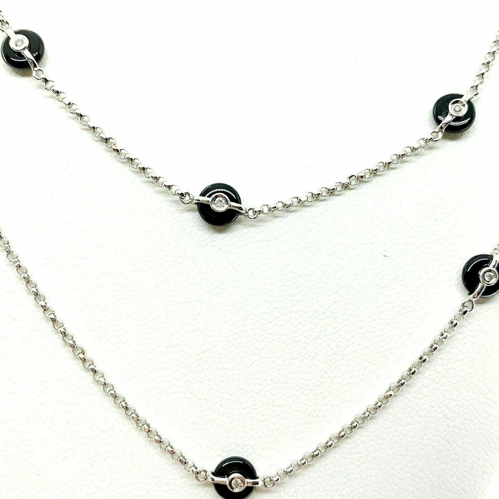 0.25 Carats t.w. Hand Assembled Diamond by The Yard and Onyx Necklace Chain 14K