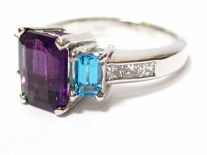 3.26 TCW Amethyst & Aquamarine Solitaire w/ Accents Cocktail Ring Sz 7.5 14k WG