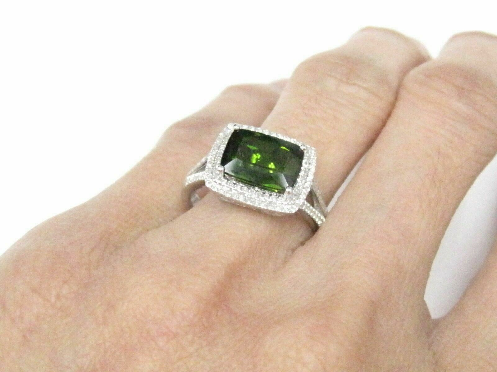 3.19 TCW Radiant Green Tourmaline & Diamond Ring 14k White Gold Size 6.5