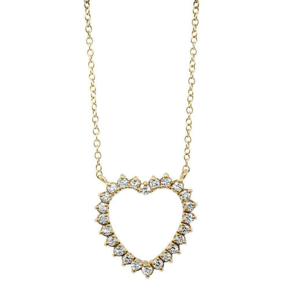 0.36 Carats Floating Round Diamond Heart Pendant 14K Yellow Gold w 14K Chain